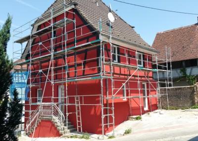 Ravalement de façade sur maison Alsacienne à Wittersdorf (68)