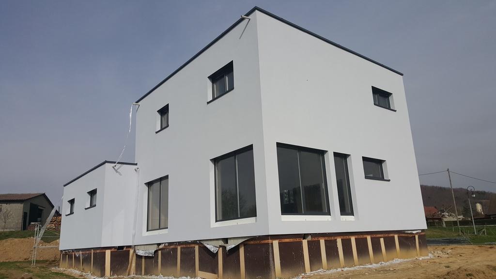 Isolation extérieure maison neuve ossature bois à Durlinsdorf (68)